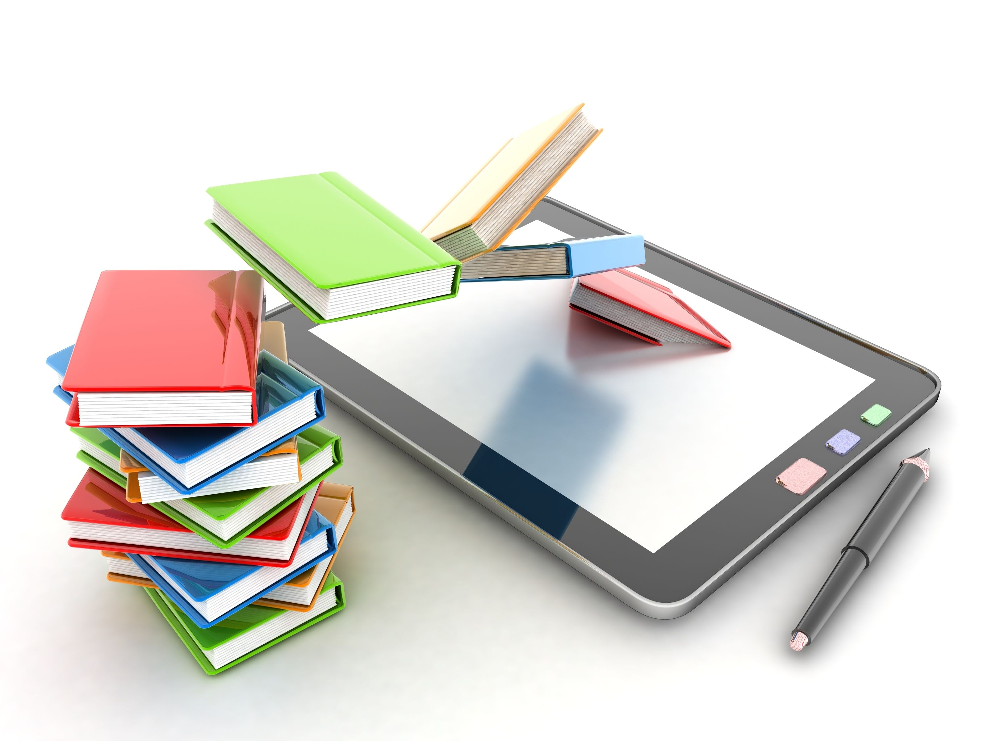 DC Tablet with Books illustration